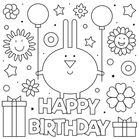 Happy Birthday. Coloring page. Black and white vector illustration Standard-Bild - 124380754
