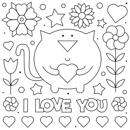 I Love You. Coloring page. Black and white vector illustration of a cat with heart. Çizim