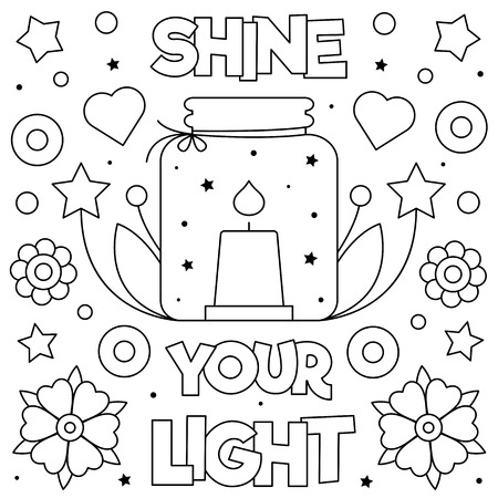 Shine your light. Coloring page. Black and white vector illustration. Standard-Bild - 123978343