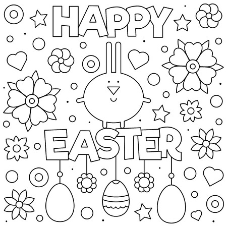 Happy Easter. Coloring page. Black and white vector illustration Stockfoto - 123978345