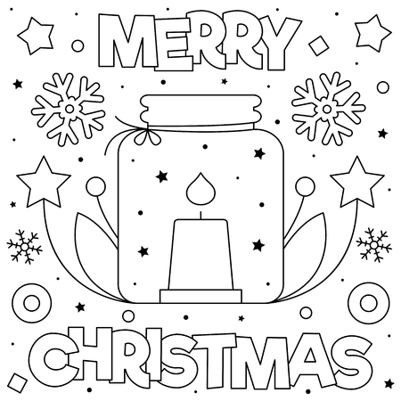 Merry Christmas. Coloring page. Black and white vector illustration Çizim
