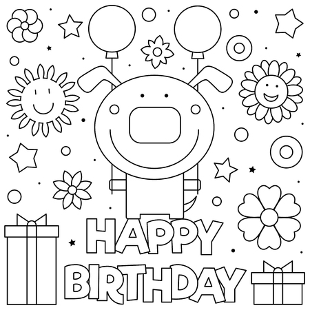 Happy Birthday. Coloring page. Black and white vector illustration Stockfoto - 123978348