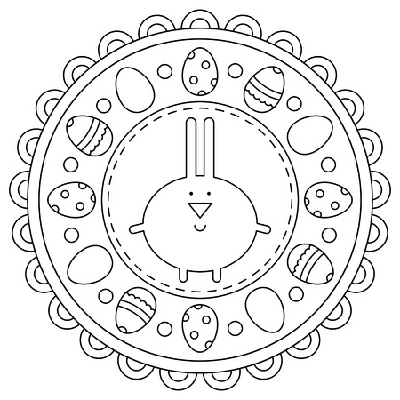 Coloring page. Easter. Rabbit. Eggs Black and white vector illustration Imagens - 123978349