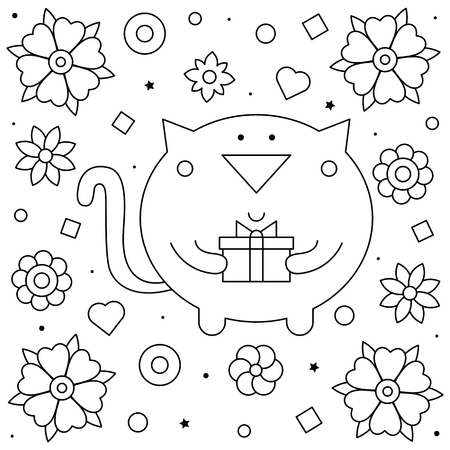 Cat with a present. Coloring page. Black and white vector illustration