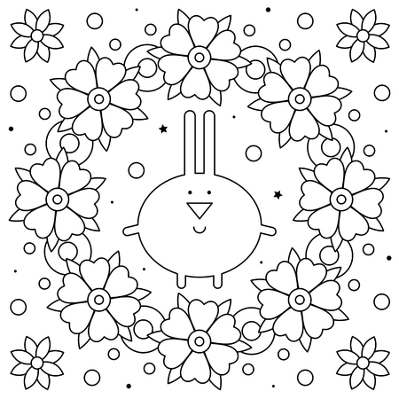 Rabbit and floral wreath. Coloring page. Black and white vector illustration