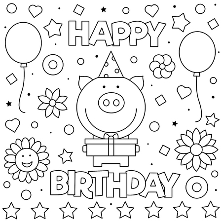 Happy Birthday. Coloring page. Black and white vector illustration Standard-Bild - 123978351