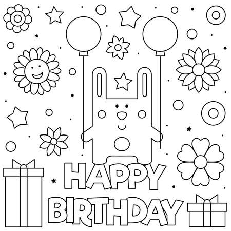 Happy Birthday. Coloring page. Black and white vector illustration Imagens - 123978352