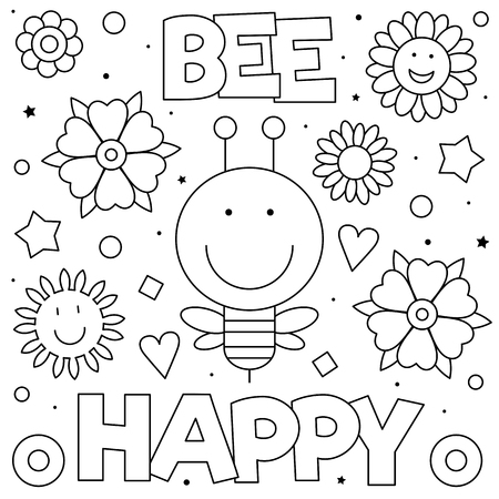 Bee happy. Coloring page. Black and white vector illustration Stock Illustratie