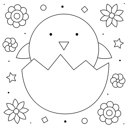 Coloring page. Black and white vector illustration of an egg with chicken Imagens - 122720894