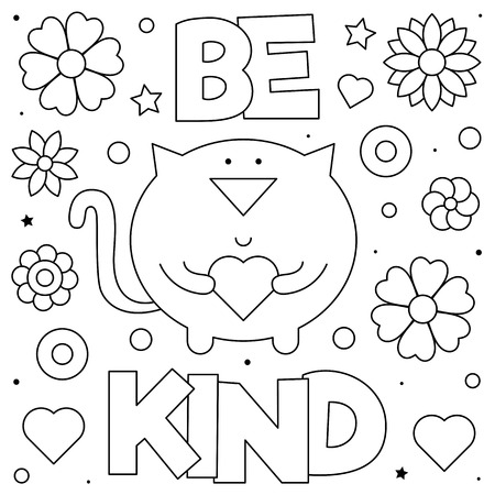 Be kind. Coloring page. Black and white vector illustration of a cat with a heart.