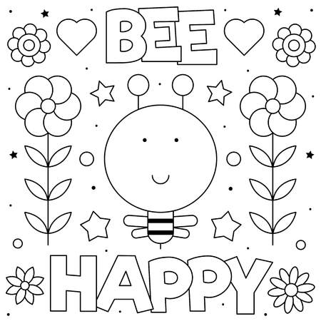 Bee happy. Coloring page. Black and white vector illustration Ilustração
