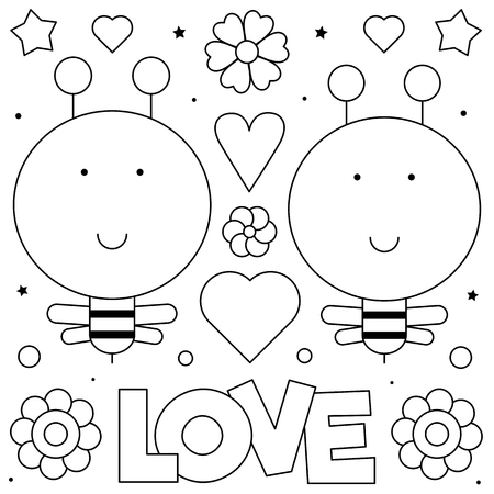 Coloring page. Black and white vector illustration of bees.