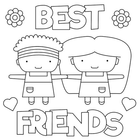 Best friends. Coloring page. Black and white vector illustration