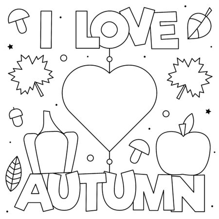 I love Autumn. Coloring page. Black and white vector illustration Stock Illustratie