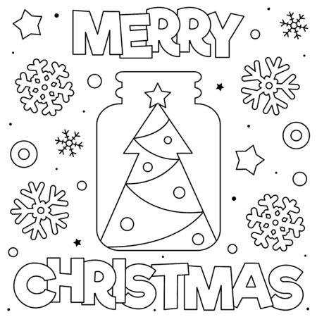 Merry Christmas. Coloring page. Black and white vector illustration.  イラスト・ベクター素材