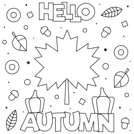Hello Autumn. Coloring page. Black and white vector illustration