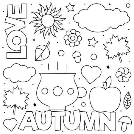 Love Autumn. Coloring page. Black and white vector illustration Stock Illustratie