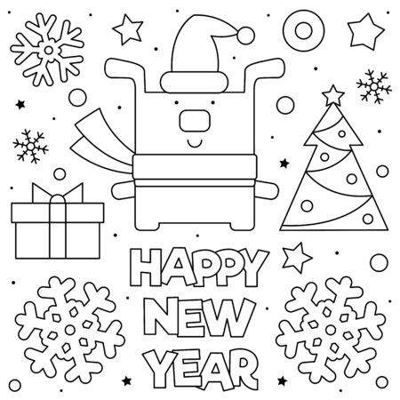 Happy New Year. Coloring page. Black and white vector illustration Stock Illustratie