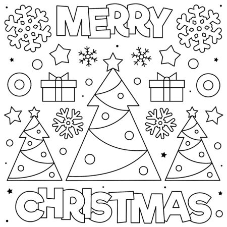 Merry Christmas. Coloring page. Black and white vector illustration Stock Illustratie