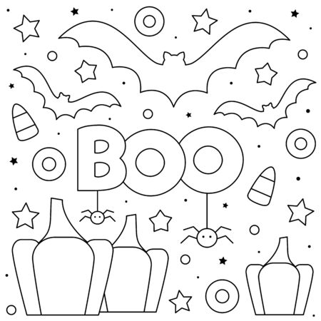 Pumpkins and bats. Coloring page. Black and white vector illustration