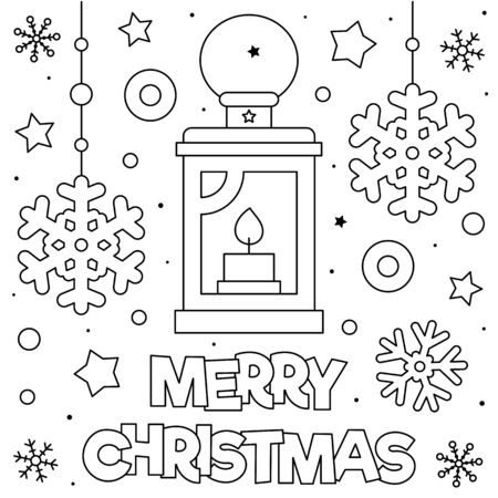 Merry Christmas. Coloring page. Black and white vector illustration. Illusztráció