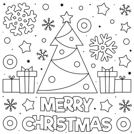 Merry Christmas. Coloring page. Black and white illustration. Stock Illustratie