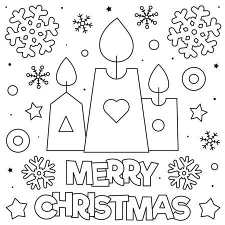 Merry Christmas. Coloring page. Black and white illustration. Illustration