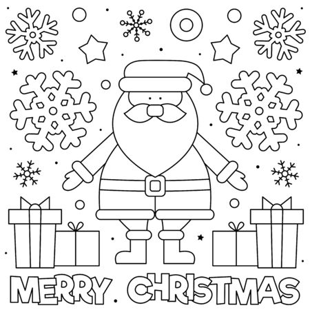 Merry Christmas. Coloring page. Black and white illustration.  イラスト・ベクター素材