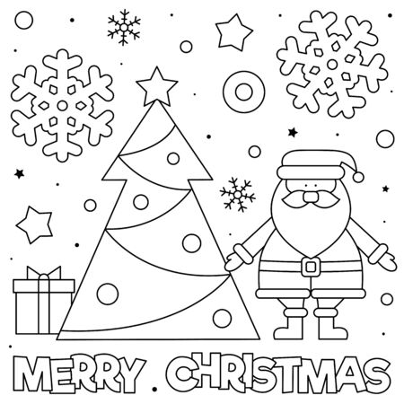 Merry Christmas. Coloring page. Black and white illustration