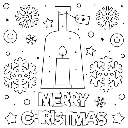 Merry Christmas. Coloring page. Black and white illustration 版權商用圖片 - 136450605