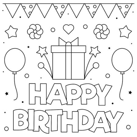 Happy Birthday. Coloring page. Black and white vector illustration.