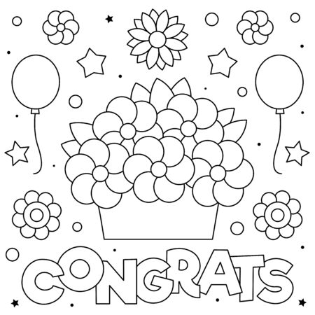 Congrats. Coloring page. Black and white vector illustration Stock Illustratie