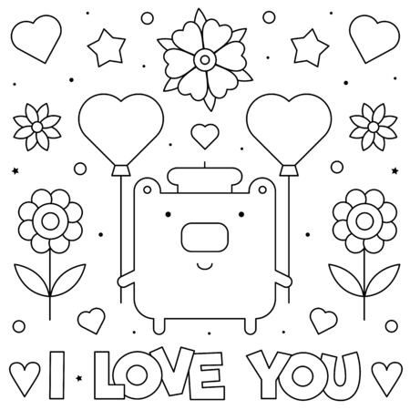 I love you. Coloring page. Black and white vector illustration  イラスト・ベクター素材