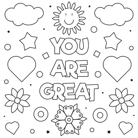 You are great. Coloring page. Vector illustration.  イラスト・ベクター素材
