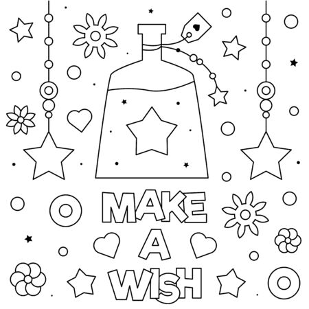 Make a wish. Coloring page. Vector illustration.  イラスト・ベクター素材