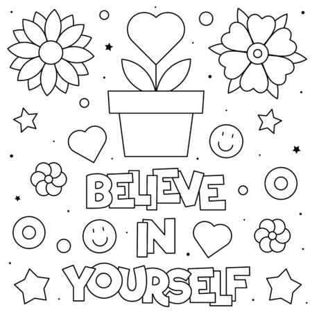 Believe in yourself. Coloring page. Vector illustration.