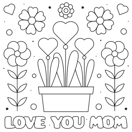 Love you mom. Coloring page. Vector illustration.