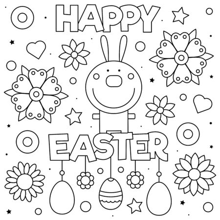 Happy Easter. Coloring page. Vector illustration of rabbit.