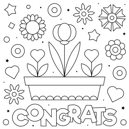 Congrats. Coloring page. Black and white vector illustration.