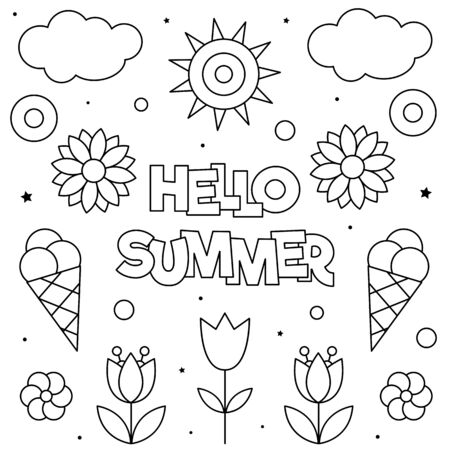 Hello Summer. Coloring page. Black and white vector illustration.