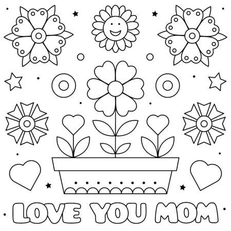 Love you mom. Coloring page. Vector illustration of flowers.  イラスト・ベクター素材