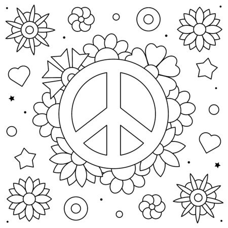Peace symbol. Coloring page. Vector illustration of flowers. Stock Illustratie