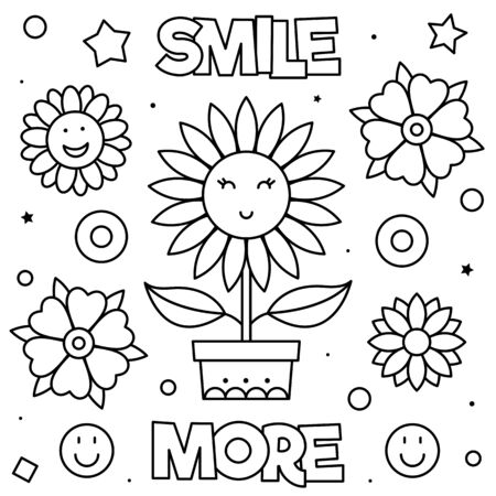 Smile more. Coloring page. Vector illustration of flowers.