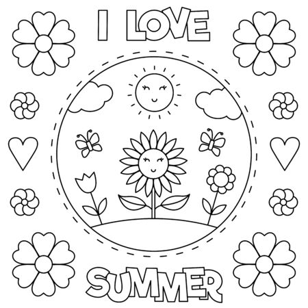 I love Summer. Coloring page. Black and white vector illustration.
