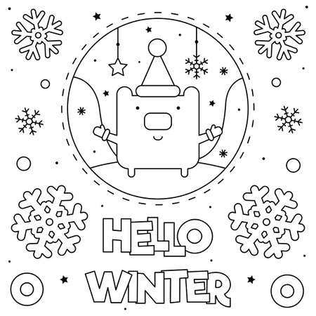 Hello winter. Coloring page. Black and white vector illustration of a bear Illusztráció