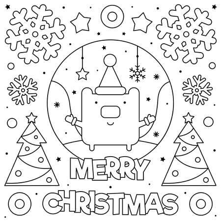 Merry Christmas. Coloring page. Black and white vector illustration of a bear