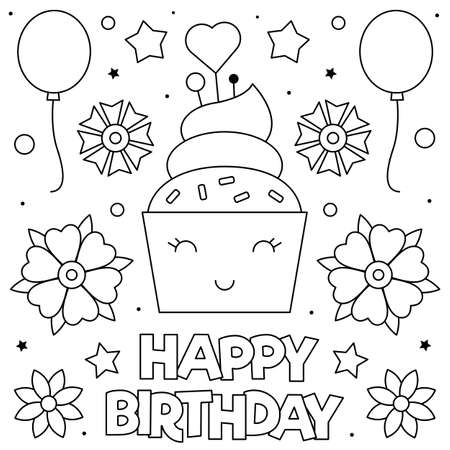 Happy Birthday. Coloring page. Black and white vector illustration of a cupcake