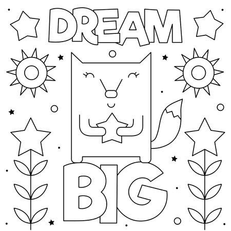 Dream big. Coloring page. Vector illustration of fox.