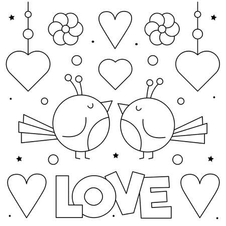 Love. Coloring page. Vector illustration of couple of birds. Ilustração