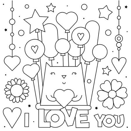 I love you. Coloring page. Vector illustration of a cat. Ilustração